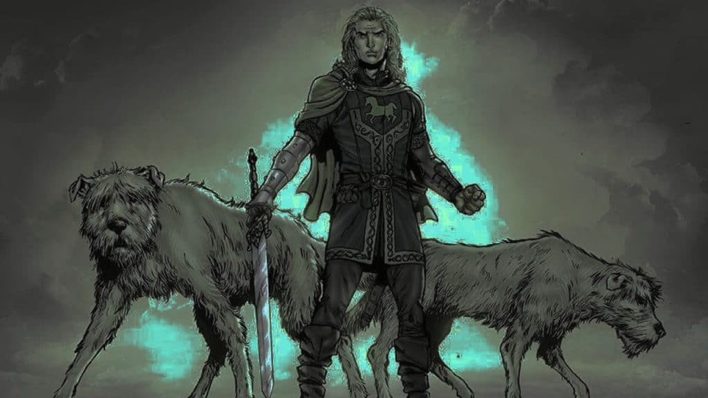 Fionn and his hounds Bran and Sceólang