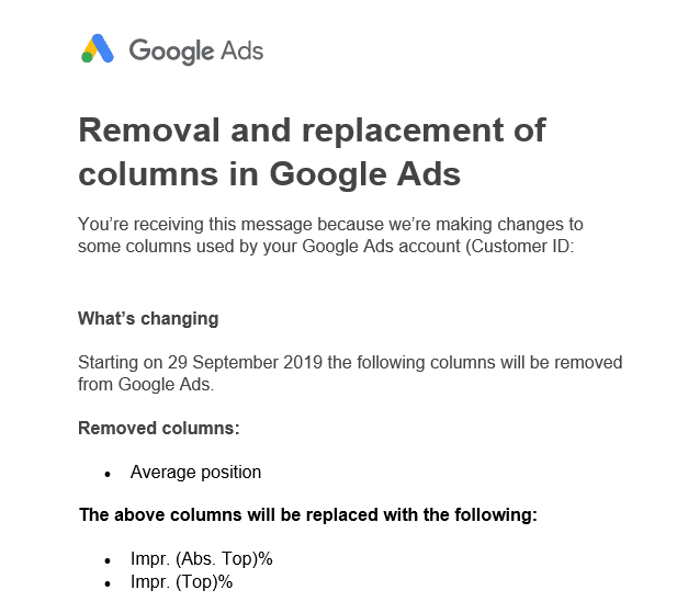 Removal and replacement of columns in Google Ads
